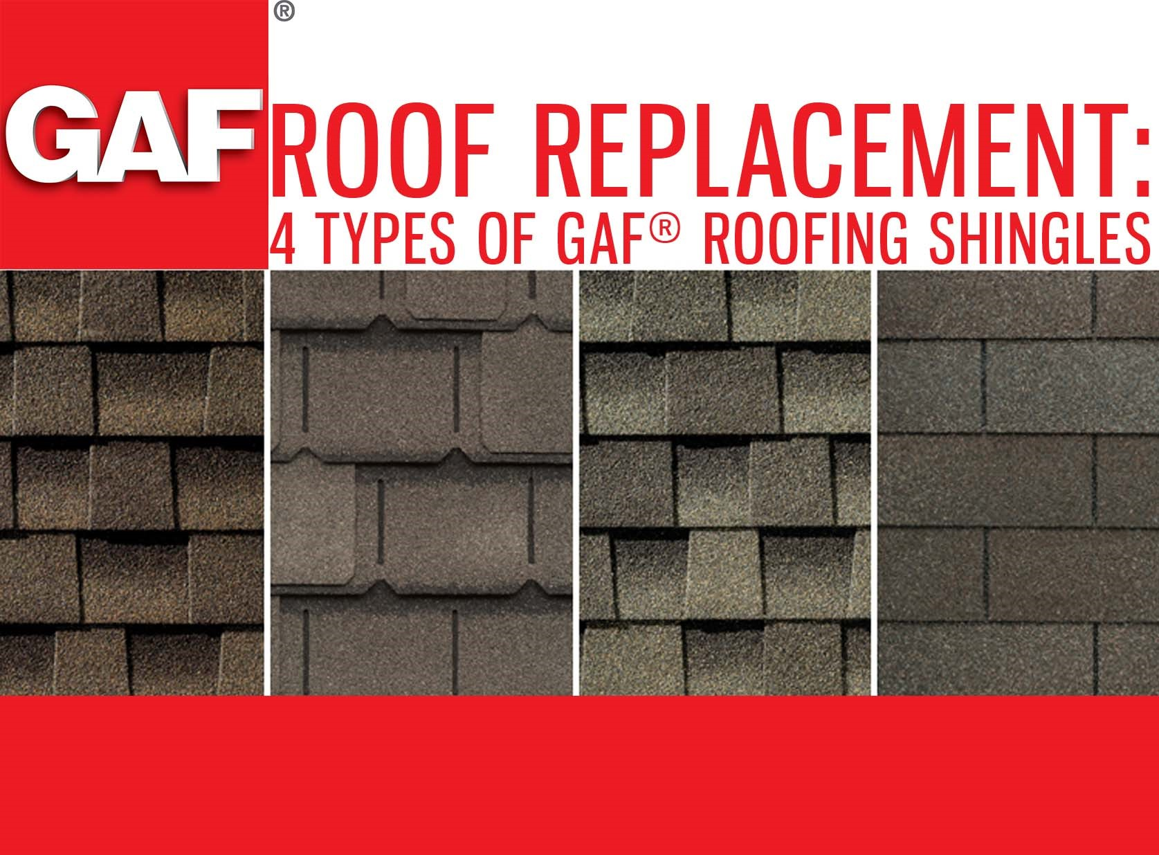 Roof replacement 4 types of gaf roofing shingles Type of roofing materials