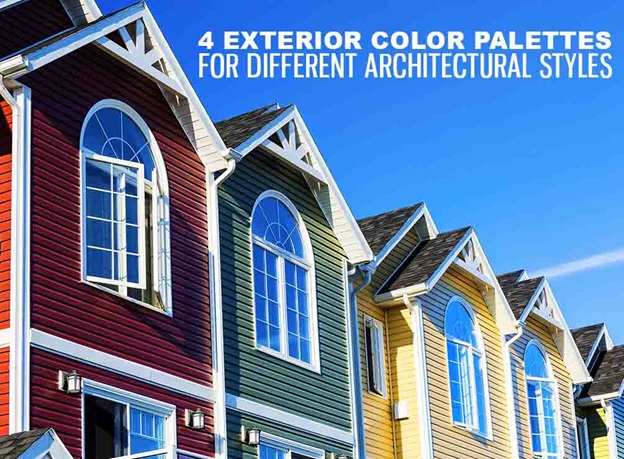 4 exterior color palettes for different architectural styles for Main architectural styles
